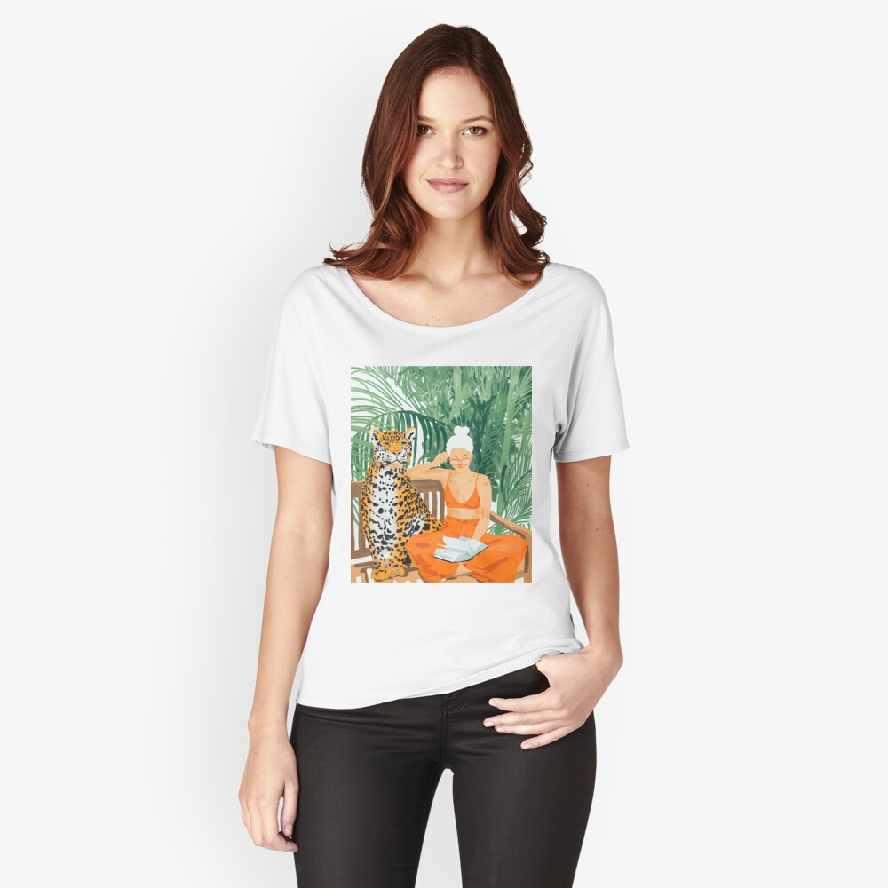 Jungle Vacay II #painting #illustration Relaxed Fit T-Shirt