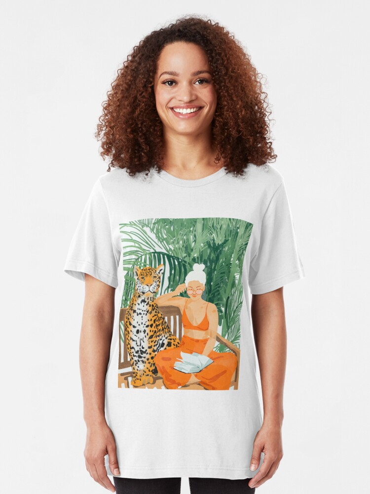 Alternate view of Jungle Vacay II #painting #illustration Slim Fit T-Shirt