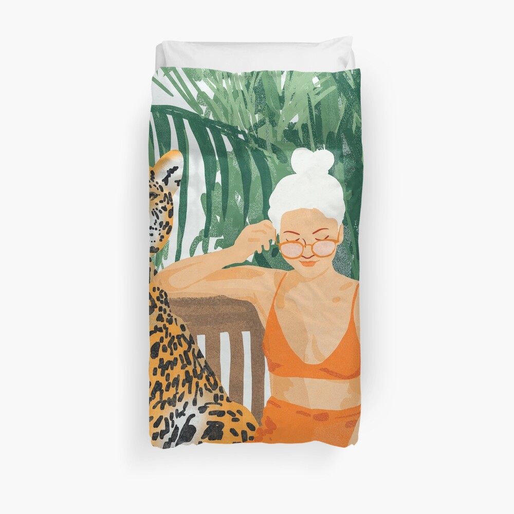 Jungle Vacay II #painting #illustration Duvet Cover
