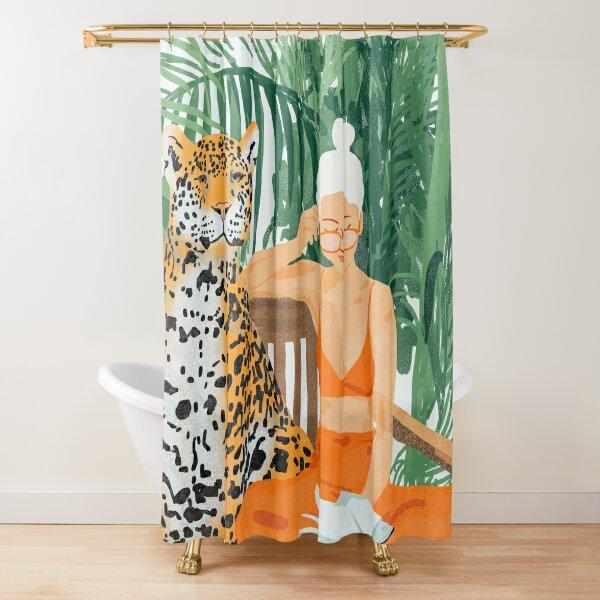 Jungle Vacay II #painting #illustration Shower Curtain