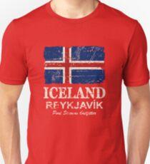 Iceland Flag - Vintage Look T-Shirt