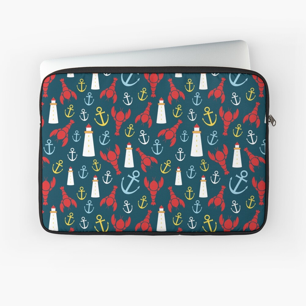 Lobsters and Lighthouses Nautical Ditsy Laptop Sleeve