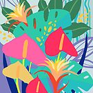 Hot House Tropical Florals, Poster Art, by Marlagill
