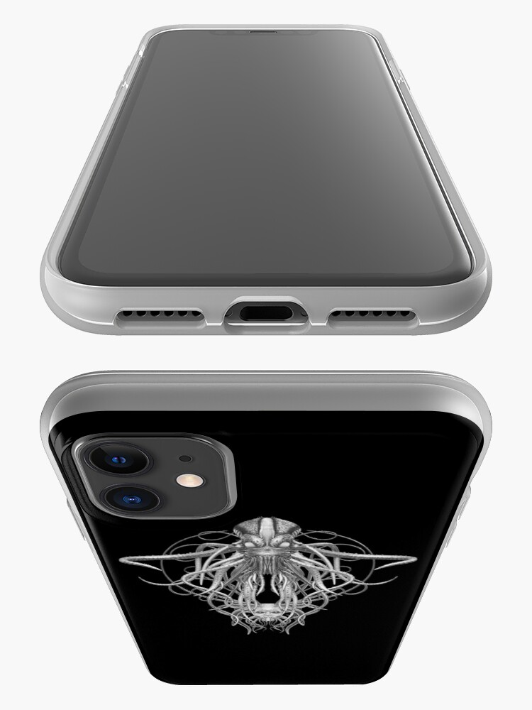 Alternate view of Cthulhu / Kraken in Black and White iPhone Case & Cover