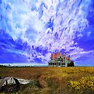 House on a Hill - background Washington State by Jeff Burgess