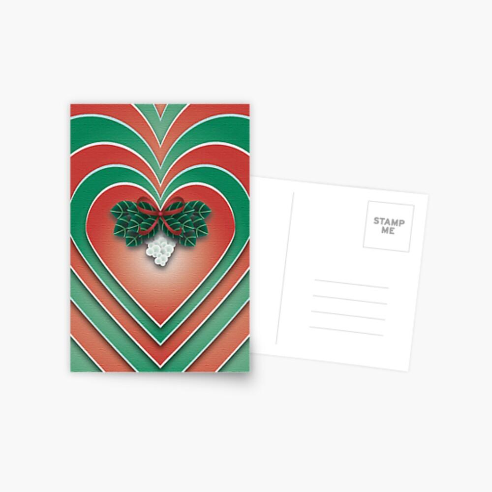 Mistletoe Heart - A Christmas Card Postcard