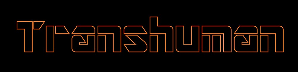 Transhuman Orange Outline on Black Background by GenerationByte