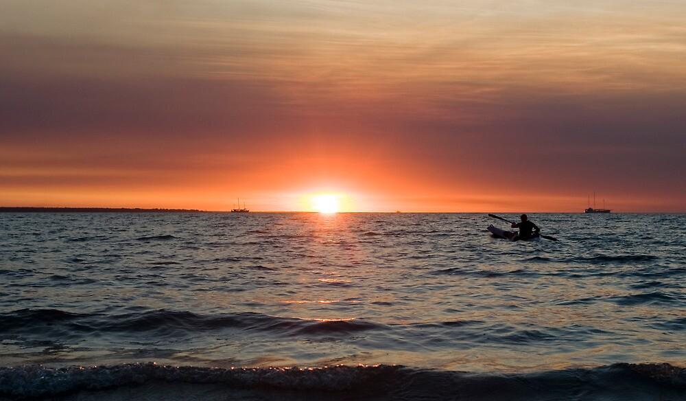 Sunset paddler - Darwin harbour by Jenny Dean