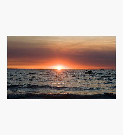 Sunset paddler - Darwin harbour Photographic Print