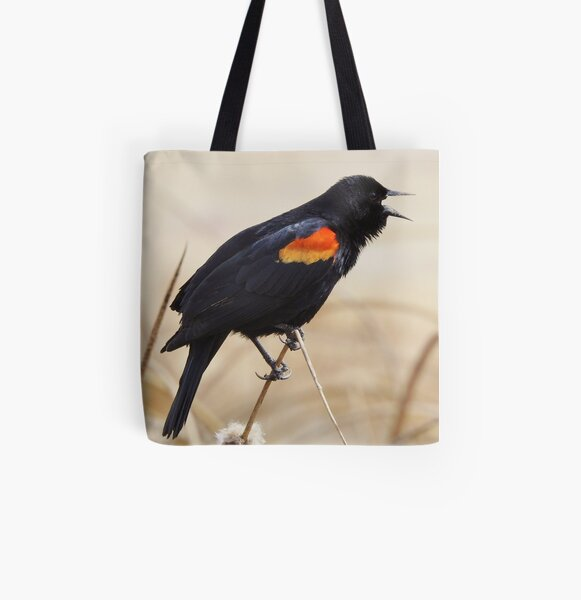Red Winged Blackbird All Over Print Tote Bag