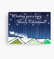 Christmas Card of santa on the rooftops Canvas Print