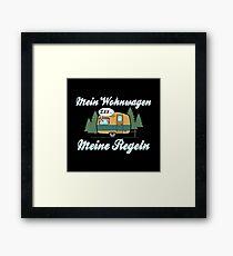 Mein Wohnwagen Meine Regeln - Lustiges Camping Geschenk Gerahmtes Wandbild