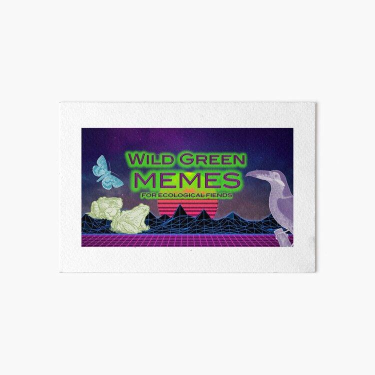 Wild Green Memes - Toucan, Moth, Frogs Art Board Print