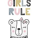 Girls Rule Cute Girly Bear by scooterbaby