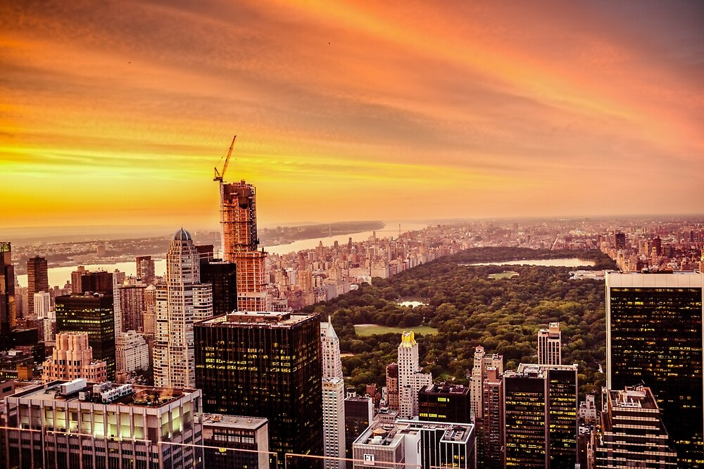 New York City Skyline Sunset by Vivienne Gucwa