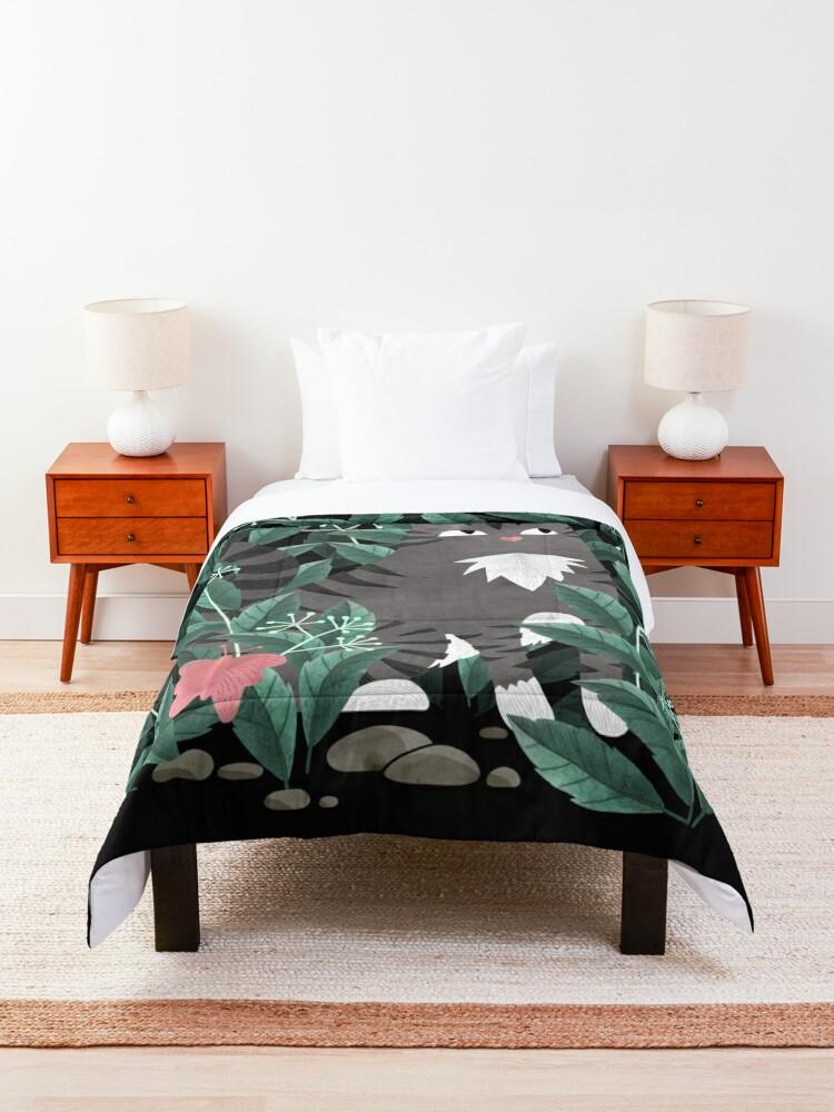 Alternate view of Butterfly Garden (Tabby Cat Version) Comforter