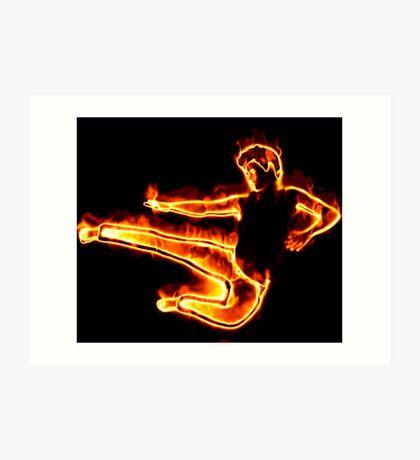 Brennender Mann in einem Sprung Kunstdruck