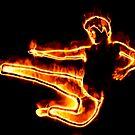 Brennender Mann in einem Sprung von AnnArtshock