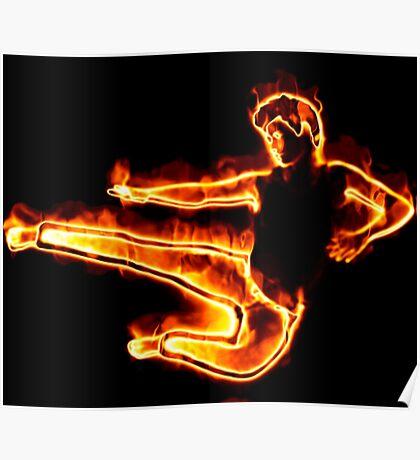 Brennender Mann in einem Sprung Poster