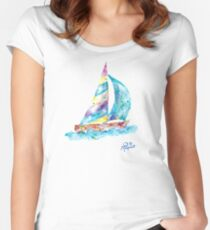 Sailboat no splots by Jan Marvin Women's Fitted Scoop T-Shirt