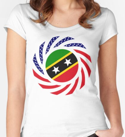 Kittian and Nevisian American Multinational Patriot Flag Series Fitted Scoop T-Shirt