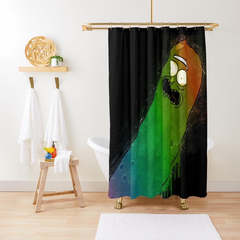 Pickle Rick Street Art Rainbow Painting Shower Curtain