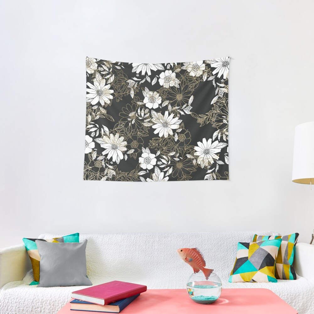 Modern black white faux gold elegant floral Tapestry