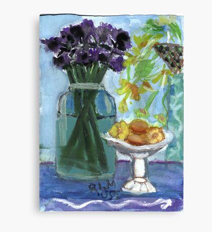 Flowers & Fruits Still Life Canvas Print