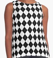 Black and White Argyle Pattern Sleeveless Top