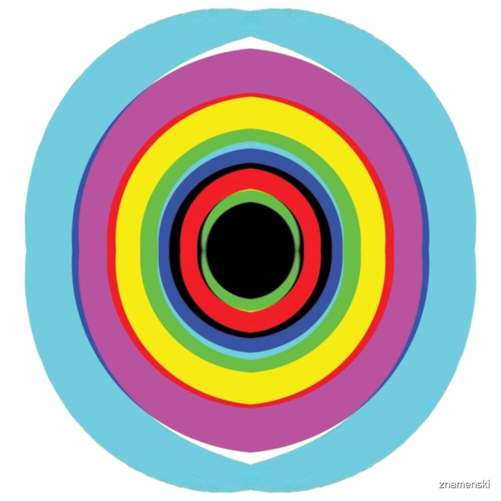 #OpArt #OpticalArt #Design, #illustration, rainbow, bright, creativity, art, fun, target, horizontal, color image, circle by znamenski