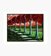 """Red Tree Path""  Art Print"