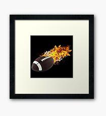 Flaming FootBall Framed Print