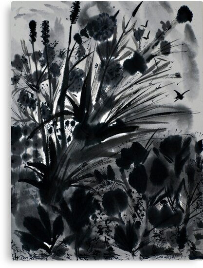 Urban Black-Sumi-e-Art Japanese ink Painting by Don Wright