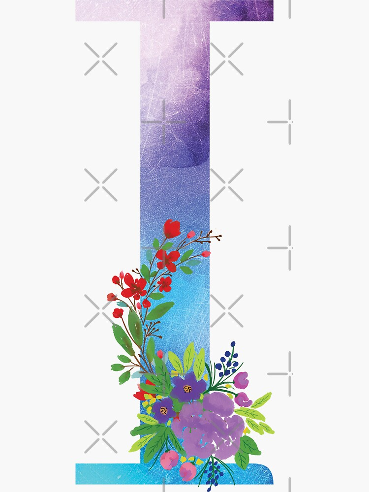 Watercolor Floral Monogram Letter I by tribbledesign