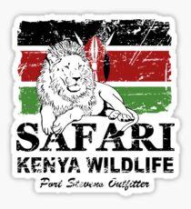 Kenya Lion Flag - Vintage Look Sticker