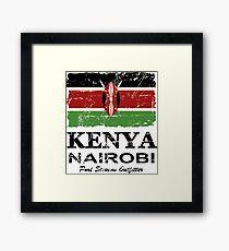 Kenya Flag - Vintage Look Framed Print