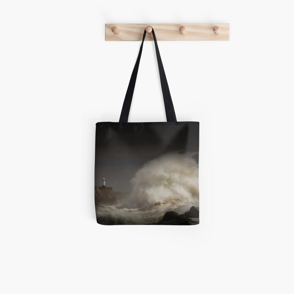 Porthcawl lighthouse and storm Tote Bag