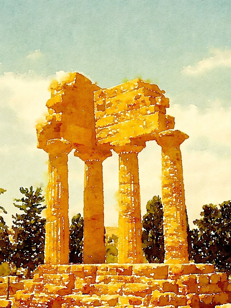 Temple of Castor and Pollux, Valle dei Templi, Agrigento, Sicily, Italy by Douglas E.  Welch