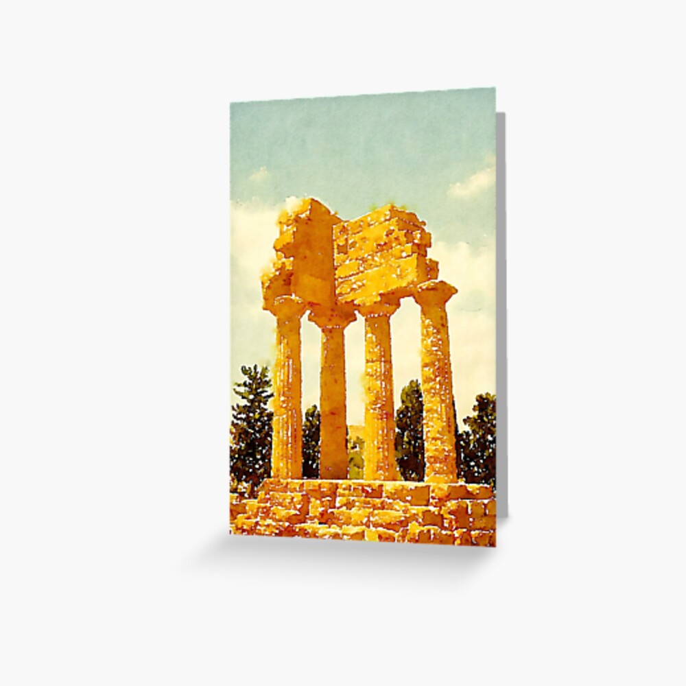 Temple of Castor and Pollux, Valle dei Templi, Agrigento, Sicily, Italy Greeting Card