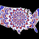 Mandala Map of the U.S.A. by julieerindesign