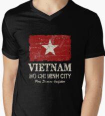 Camiseta de cuello en V Bandera de Vietnam - apariencia vintage