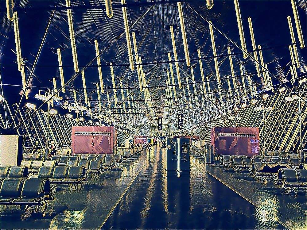 Stylized Painting of Modern Interior Architecture — Shanghai Airport, China by DLKR