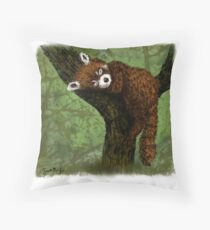Red Panda Napping Throw Pillow