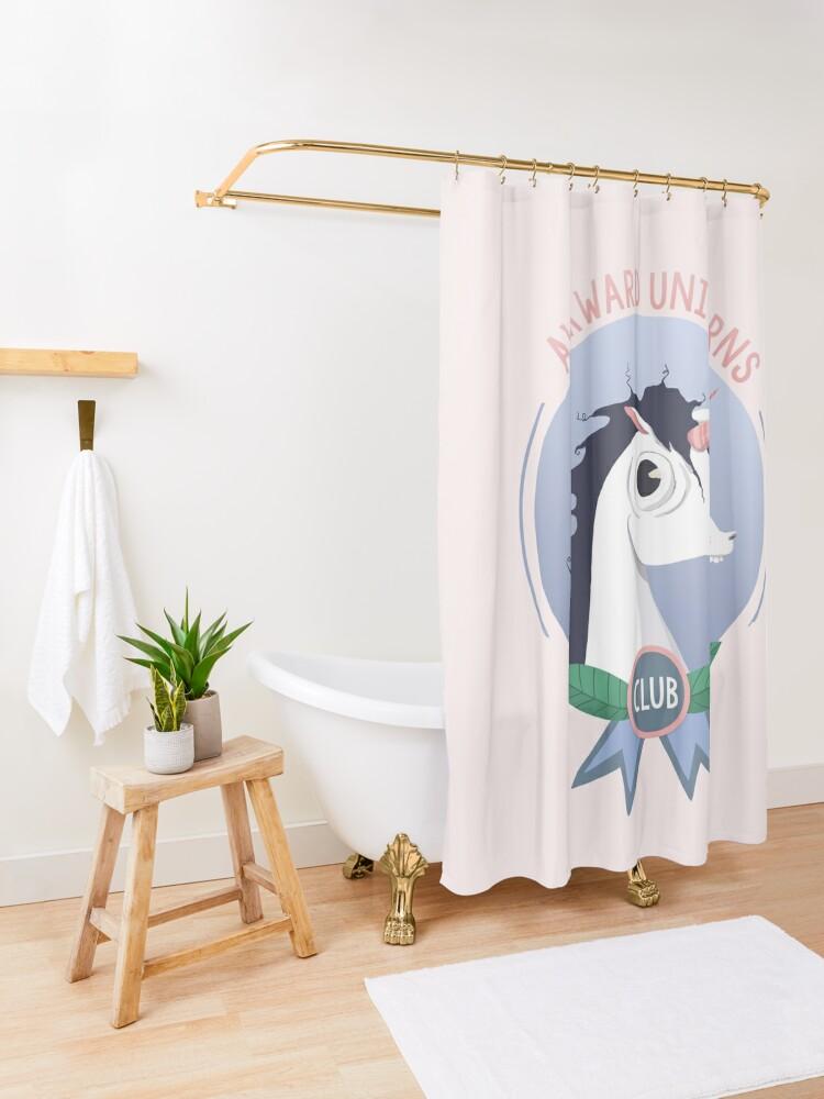 Alternate view of Awkward Unicorns Club Shower Curtain