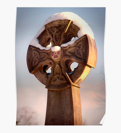 Sunlit Snowy Celtic Cross Poster