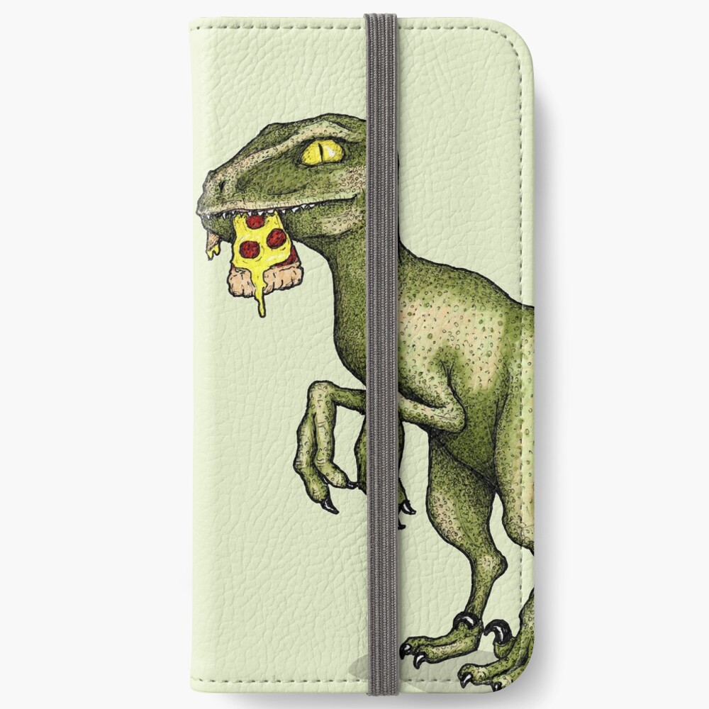 Raptor eating pizza iPhone Wallet
