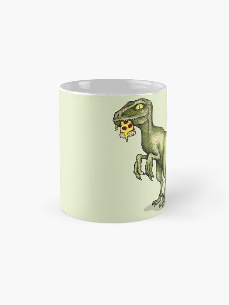 Alternate view of Raptor eating pizza Mug