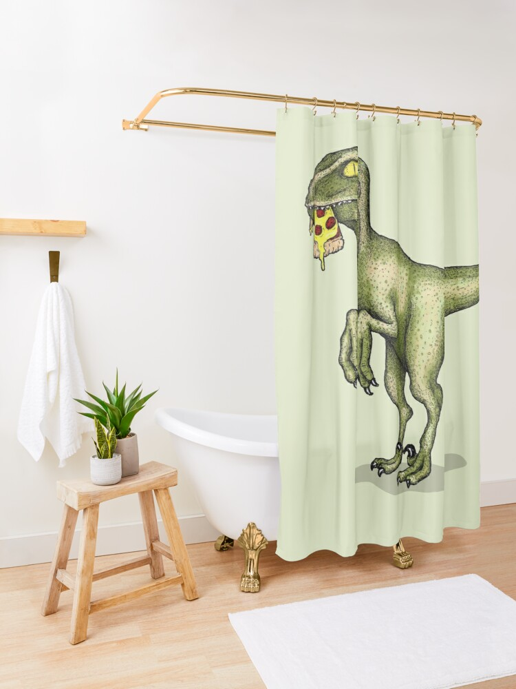 Alternate view of Raptor eating pizza Shower Curtain