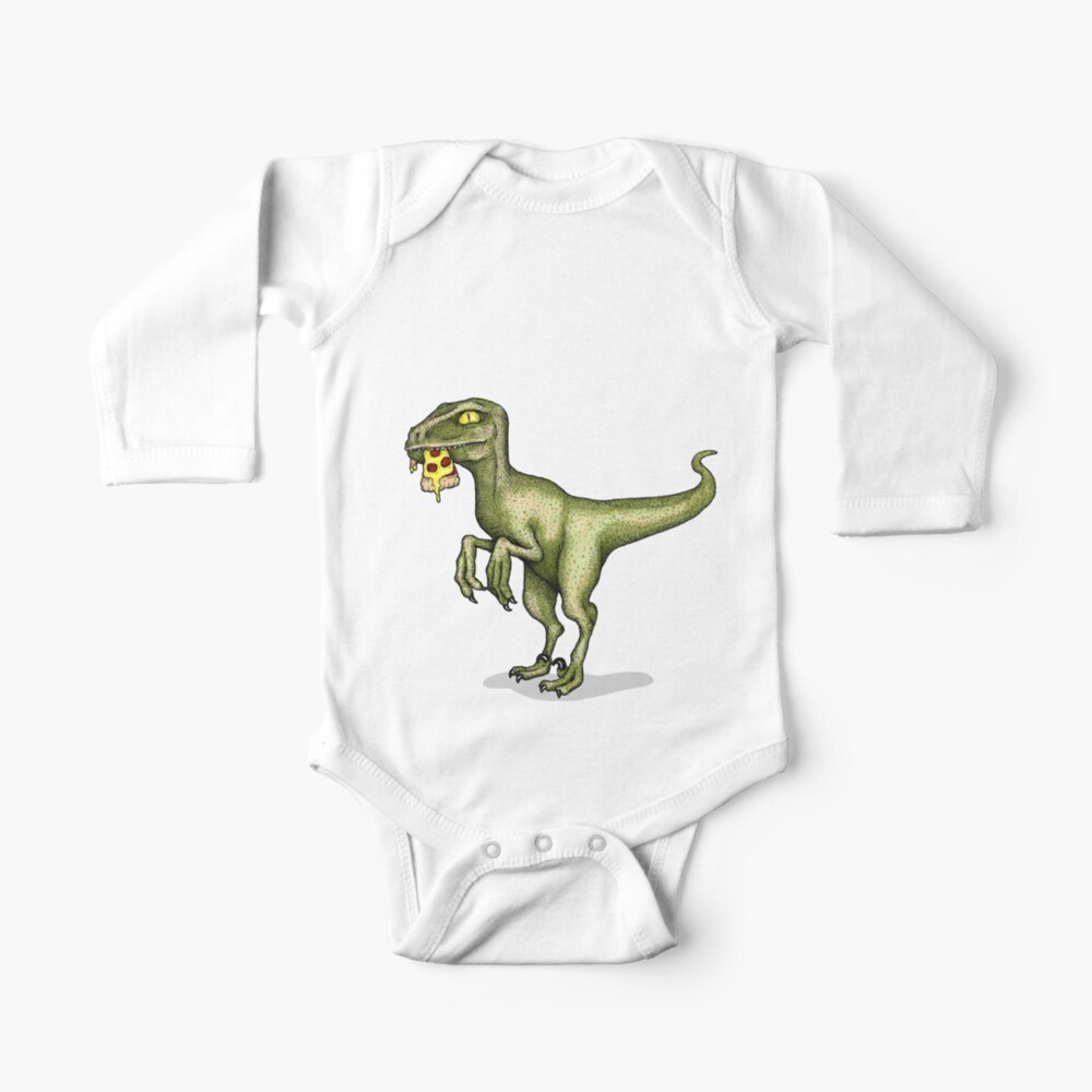 Raptor eating pizza Baby One-Piece