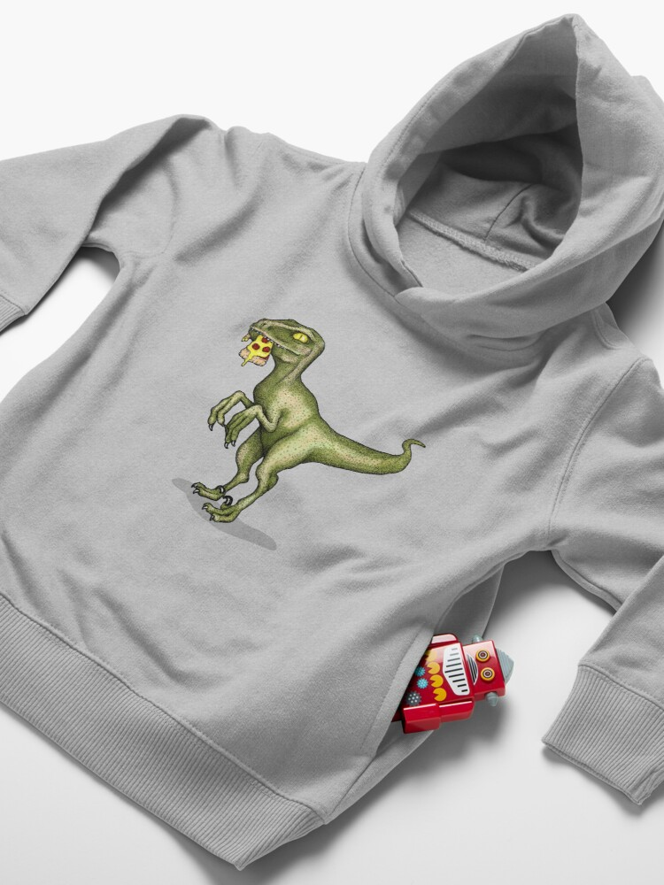 Alternate view of Raptor eating pizza Toddler Pullover Hoodie